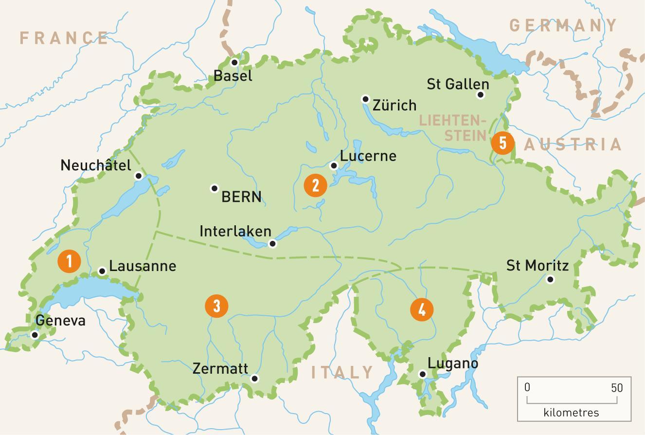 Kartta Sveitsi Sveitsi Kartta Lansi Eurooppa Eurooppa
