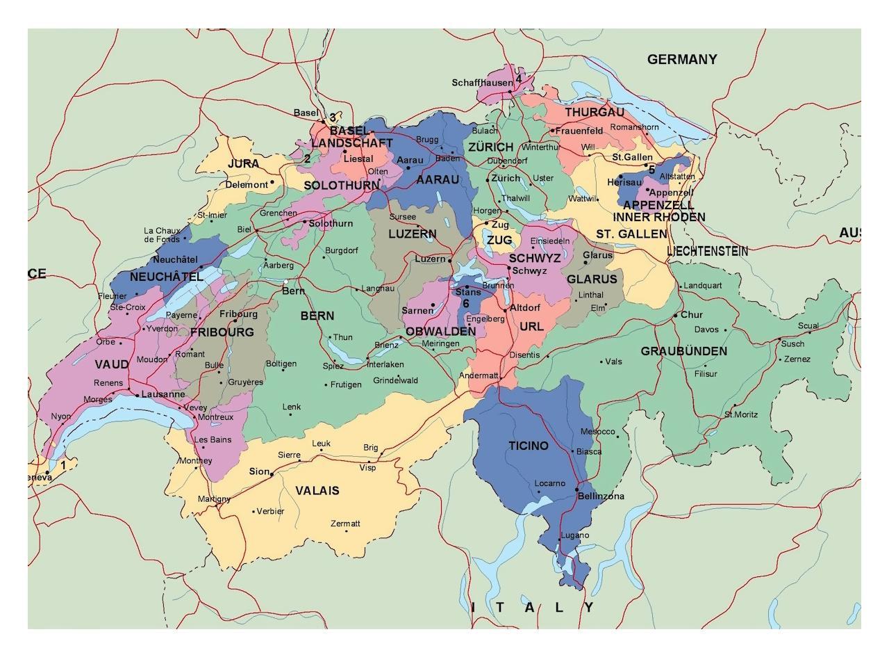Suurimmissa Kaupungeissa Sveitsi Kartta Kartta Sveitsin