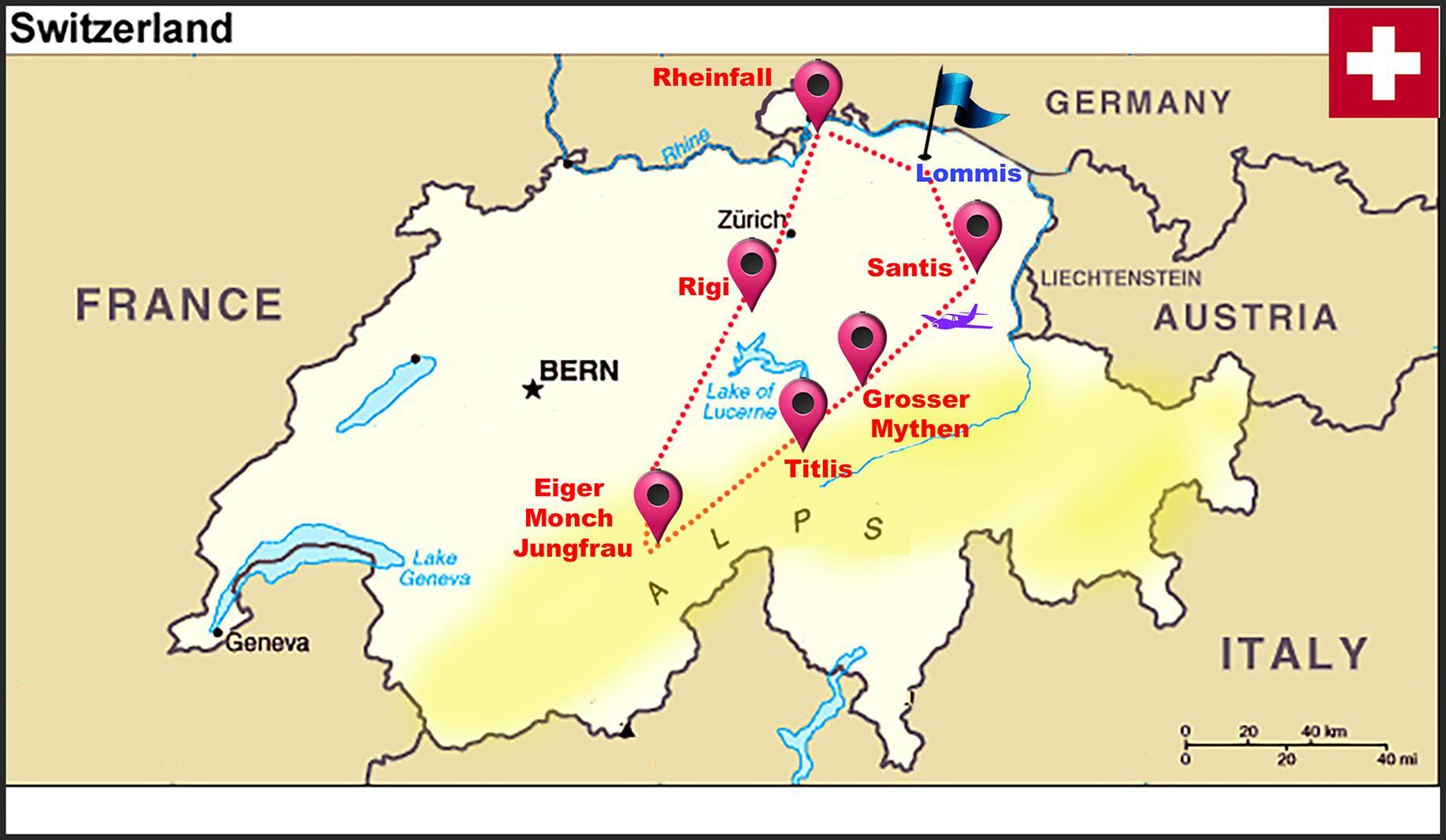 Sveitsin Alpeilla Kartta Sveitsin Alpeilla Kartta Sveitsi Lansi
