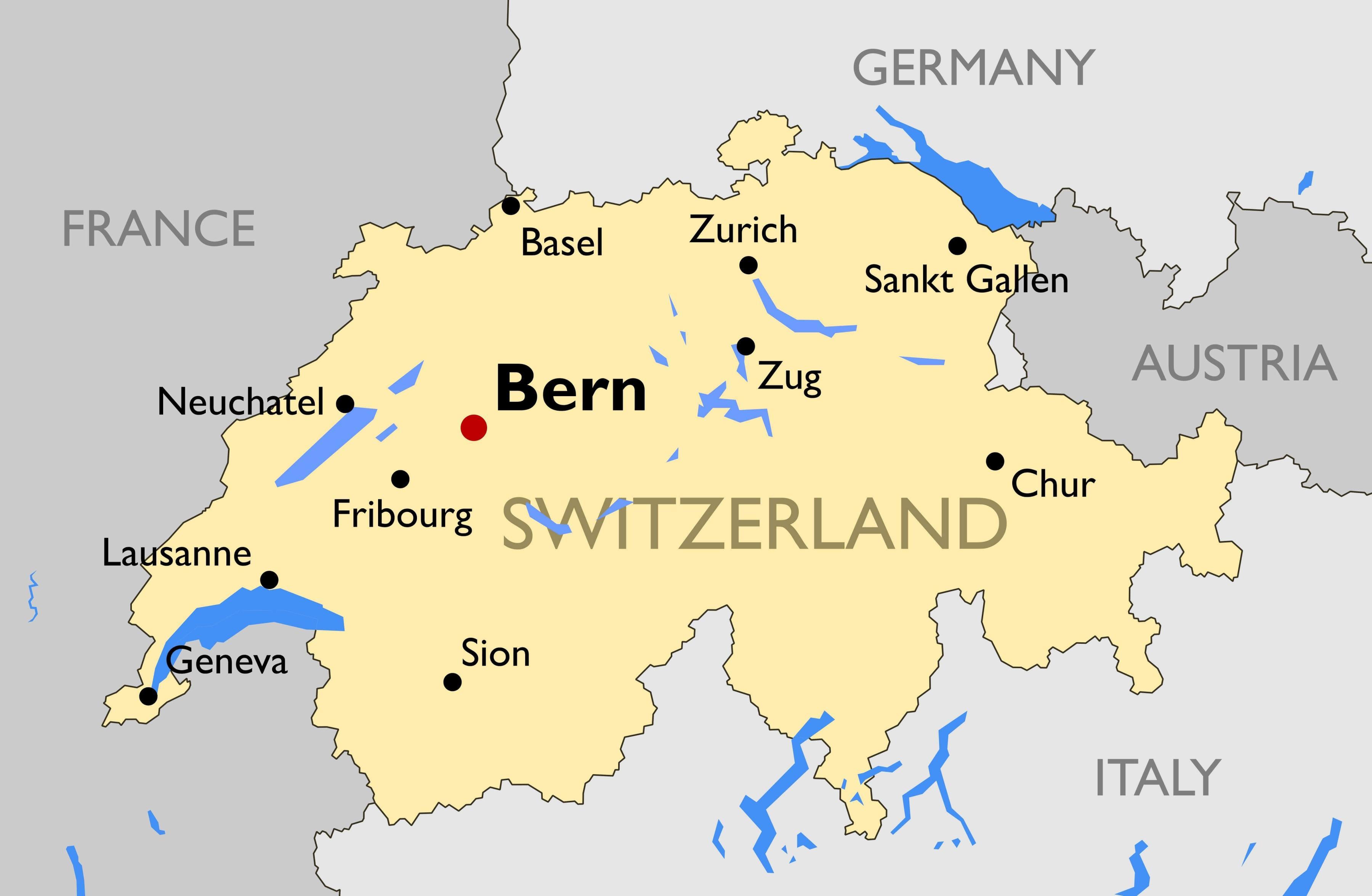 Sveitsin Kaupungit Kartta Kartta Sveitsin Suurimmissa