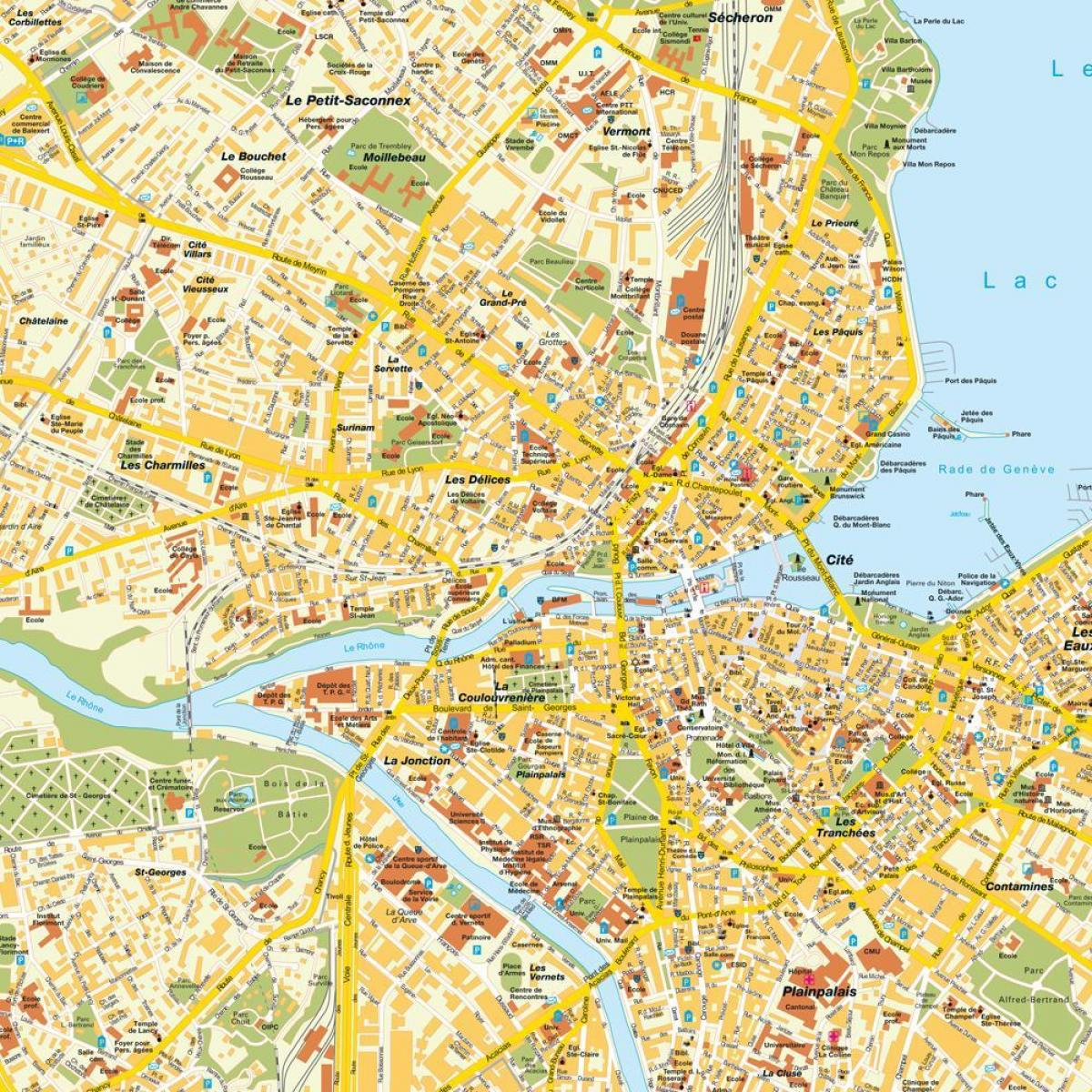 Kaupungin Kartta Geneven Sveitsi Street Kartta Geneven Sveitsi