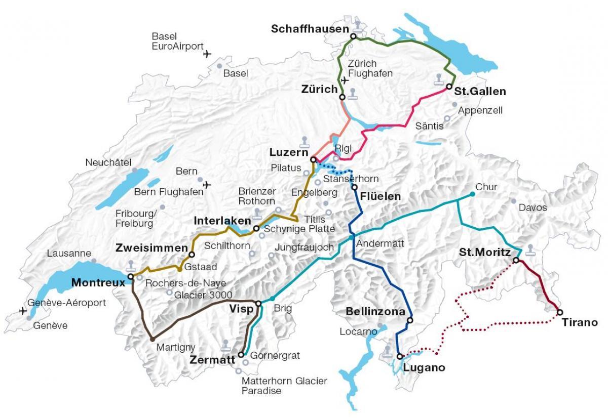 Sveitsin Rautateiden Kartta Sveitsi Juna Reittikartta Lansi